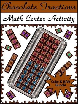 Valentine's Math & Easter Math Activity: Chocolate Fractions Bundle - Color&BW
