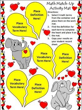 Valentine's Day Math Activities: Valentine's Day Math Vocabulary Match-Up