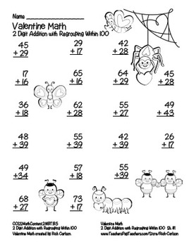 """""""Valentine Math"""" 2 Digit Addition With Regrouping Common Core! (black line)"""