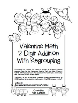 """""""Valentine Math"""" 2 Digit Addition With Regrouping Common C"""