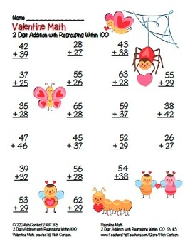 """""""Valentine Math"""" 2 Digit Addition With Regrouping - Common Core! (color version)"""