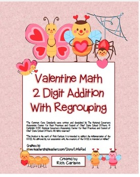 """Valentine Math"" 2 Digit Addition With Regrouping - Common"
