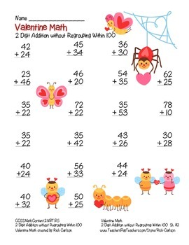 """""""Valentine Math"""" 2 Digit Addition Without Regrouping Common Core! (color&black)"""