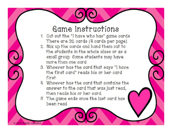 Valentine's Day Multiplication I Have Who Has Game