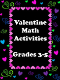 Valentine Math Activities 3rd-5th Grade