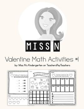 Valentine Math Activity Packet #1 for Kindergarten