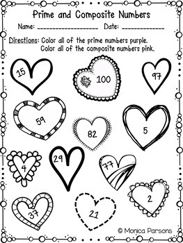 Valentine Math Activity Sheets for Upper Elementary