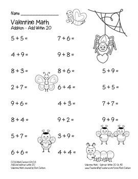"""""""Valentine Math"""" Addition Within 20 - Common Core - Fun! (black line version)"""