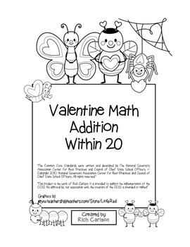 """Valentine Math"" Addition Within 20 - Common Core - Fun! ("