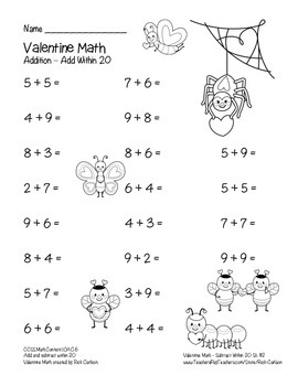 """Valentine Math"" Addition Within 20 - Common Core - Fun! (color & black line )"