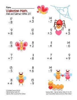 """""""Valentine Math"""" Addition Within 20 - Common Core - Fun! (color version)"""