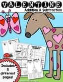 Valentine Math {Addition and Subtraction} for First Grade & Kindergarten