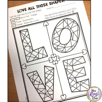 Math Art LOVE Coloring Fun Valentines Coloring FREEBIE
