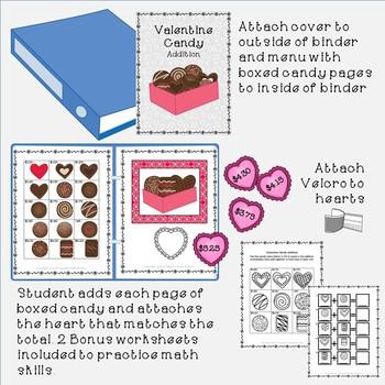 Valentine Math Binder and Addition Worksheets