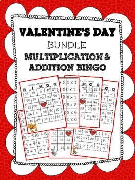 Valentine Math Bundle, Multiplication and Addition BINGO, Bookmarks, Passes