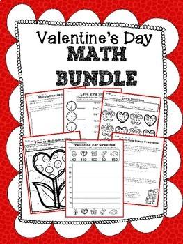 Valentine Math Bundle, Multiplication and Addition BINGO, Bookmarks, Passes