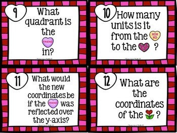 Valentine Math Center:  Coordinate Graph WORD PROBLEM Task Cards
