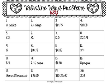 Valentine Math Center:  WORD PROBLEM Task Cards