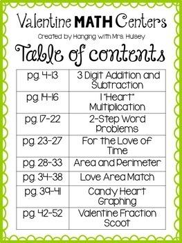 Valentine Math Centers (3rd Grade)