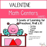 Valentine Math Centers: Shapes for Preschool, PreK, K & Homeschool