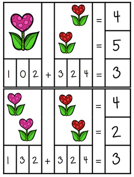 Valentine Math Clip Cards and Puzzles