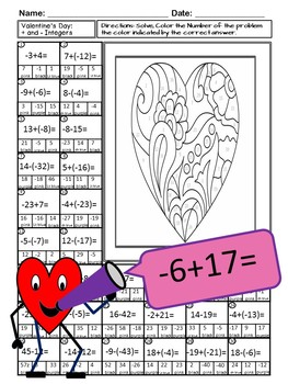 Valentine Math Color By Number: Add and Subtract Integers