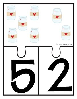 Valentine Math Counting Puzzles and 10 Frames