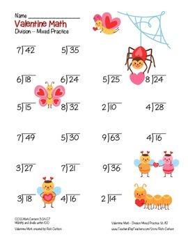 """""""Valentine Math"""" Division- Common Core -  Division Fun! (color version)"""