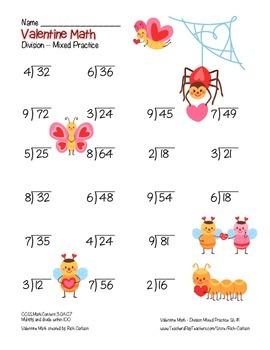 """""""Valentine Math""""  - Division - Common Core - Fun! (black line &color version)"""