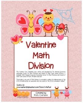 """""""Valentine Math""""  - Division - Common Core - Fun! (black line & color version)"""