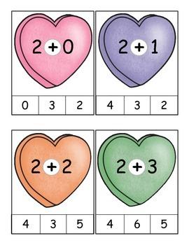 Valentine Math Facts Clip It Activity