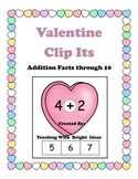 Valentine Math Facts Clip It Activity