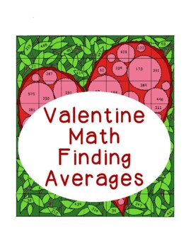 Valentine Math Finding Averages Activity Averaging Heart Computation Calculator