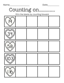 Valentine Math Fun - sequencing, missing number, counting on, & tens frames