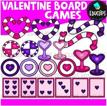 Valentine Game Board Clip Art Bundle {Educlips Clipart}
