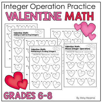 Valentine Math Integer Operations Practice