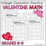 Valentine Math Integer Operations Practice Worksheets