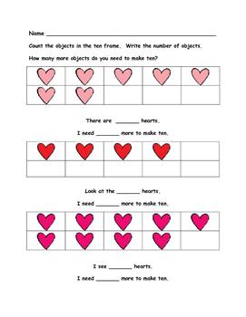 Valentine Math - Kindergarten - Numbers 1 to 10