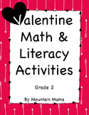 2nd Grade Valentine Math & Literacy Activities & Worksheet