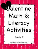 2nd Grade Valentine Math & Literacy Activities & Worksheet