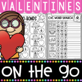 Valentines Day Kindergarten Literacy and Math Printables Pack