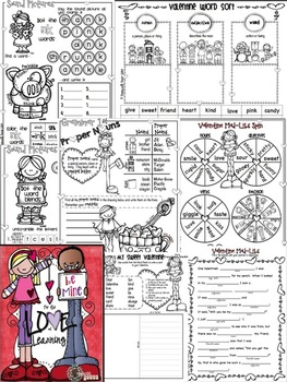 Valentine Math & Literacy NO PREP Pack and Quick Craft