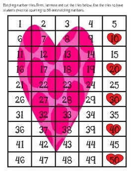 Valentine Math Match Up - Number Charts