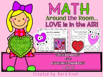 Valentine Math: Math Around the Room Addition/Subtraction
