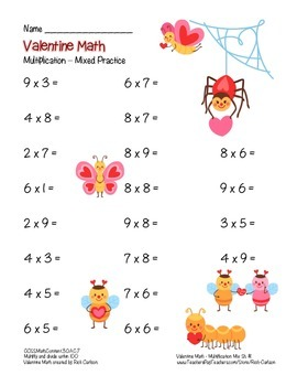 """Valentine Math"" Mixed Multiplication - Common Core -  Fun! (color version)"