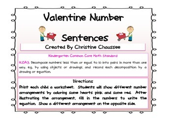 Valentine Math Number Sentences
