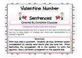 Valentine Math Number Sentences