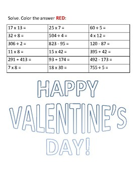 Valentine Math Operations Review Coloring Page