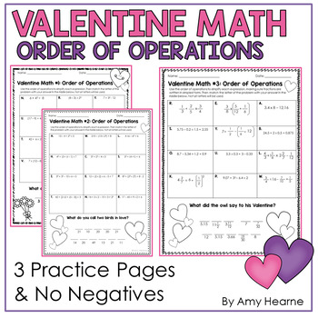 Valentine Math Order Of Operations Riddle Worksheets Tpt