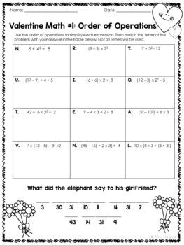 Valentine Math Order of Operations Riddle Worksheets